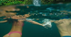 Couple Swimming to Waterfall Stock Footage