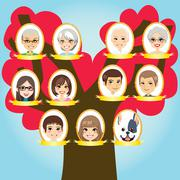 Big Family tree - stock illustration