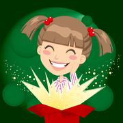 Girl Present Surprise Stock Illustration