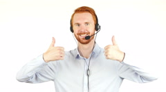 Closeup photo of an agent consulting clients on the phone gesturing thumb up Stock Footage