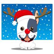 French Bulldog Reindeer - stock illustration