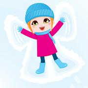 Snow Angel Girl Stock Illustration