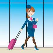 Active Stewardess Walking Stock Illustration