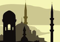 Turkish landscape Stock Illustration