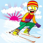 Teen Skiing Fast Stock Illustration