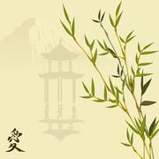 bamboo and pagoda - stock illustration