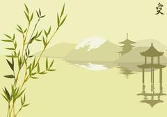 Mountain and pagoda and bamboo Stock Illustration