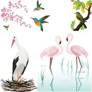 cliparts with birds - stock illustration