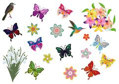 Set with butterflies birds and flowers Stock Illustration