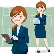 Brunette Business Woman - stock illustration