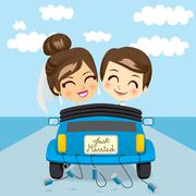 Just Married Trip Stock Illustration