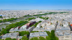 4K Parisian Cityscape, Paris France Skyline View Seen from Eiffel Tower Landmark Stock Footage