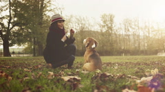 A lady in hat teases her dog with a fallen autumn leaf Stock Footage