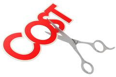 Cut cost with metal sissor - stock illustration