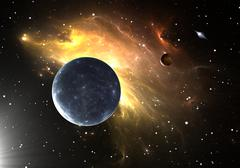 Extrasolar planets or exoplanets. 3D illustration - stock illustration