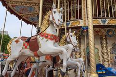 Beautiful horse on the carousel street. Carnival Stock Photos
