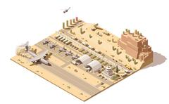 Vector isometric low poly infographic element representing map of military Stock Illustration
