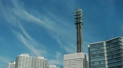 Yokohama cityscape against blue sky. - stock footage