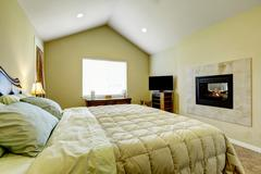 Master bedroom with built in fireplace and vaulted ceiling. Beige carpet floo Stock Photos