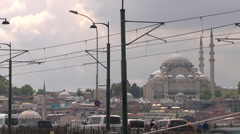 Traffic and a mosque in istanbul Stock Footage
