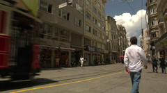 Tram in the main street in istanbul Stock Footage