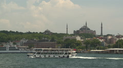 Bosporus with Mosk and a ferry in istanbul Stock Footage