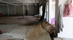 Flood and Rain Damaged Interior of Store Stock Footage