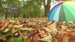 A multi-colored umbrella lying on the leaved ground in the park Stock Footage