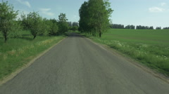 Flying along County Road in Bright Summer Day. Stock Footage