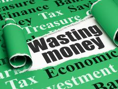 Money concept: black text Wasting Money under the piece of  torn paper - stock illustration