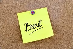 Yellow paper note pinned with Great Britain flag thumbtack and text BREXIT - stock photo