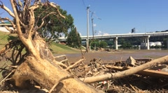 Closeup of Flood Debris in Foreground of Bridge and Traffic Stock Footage