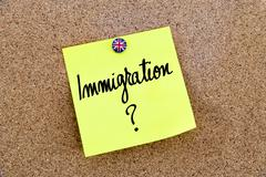 Yellow paper note pinned with Great Britain flag thumbtack and text IMMIGRATI Stock Photos