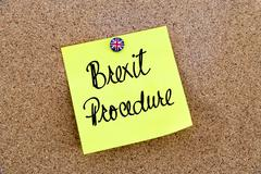 Yellow paper note pinned on cork board with Great Britain flag thumbtack, wri Stock Photos