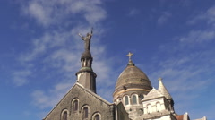 Jesus Christ statue on church in Martinique island, France Stock Footage