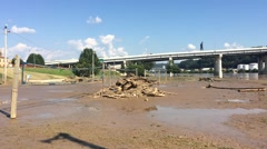 Riverside Children's Park Inundated with Mud from Flood Stock Footage