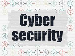 Safety concept: Cyber Security on wall background - stock illustration