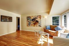 Living room with hardwood floor. American northwest home - stock photo