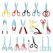 Scissors vector set - stock illustration