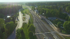 Aerial Drone Shot of Train Station in the Country. Stock Footage