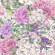 Watercolor seamless pattern with a bouquet of chrysanthemum - stock illustration