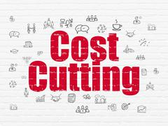 Business concept: Cost Cutting on wall background Stock Illustration