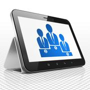 Finance concept: Tablet Computer with Business Team on display - stock illustration
