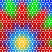 honeycomb - abstract geometric hexagon flower - stock illustration
