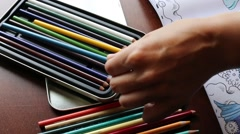 pencil crayons for coloring - stock footage