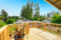 Nice deck with beautiful scenery, and space. American northwest home Stock Photos