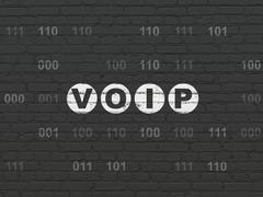 Web design concept: VOIP on wall background - stock illustration