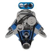 Hot rod V8 Engine 3D render Stock Illustration