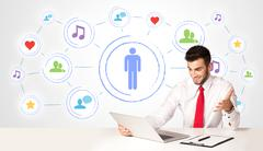 Business man with social media connection background - stock photo