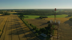 Aerial Shot of Telecommunication Mast in the Country. - stock footage